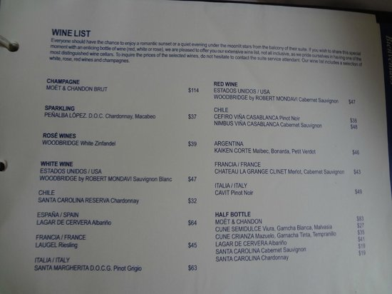 Secrets Aura Cozumel: Room service menu