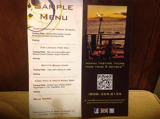 Hawaii Tasting Tours: Tasting Tour Menu