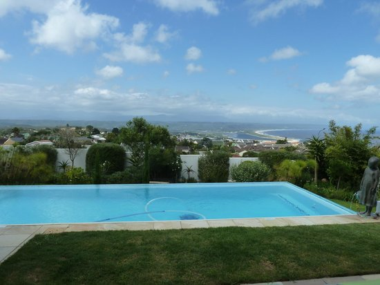 Aquavit Guest House: The infinity pool and view of Plett