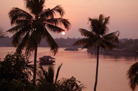 The Raviz Resort and Spa, Ashtamudi : Sunset from King's Suite balcony