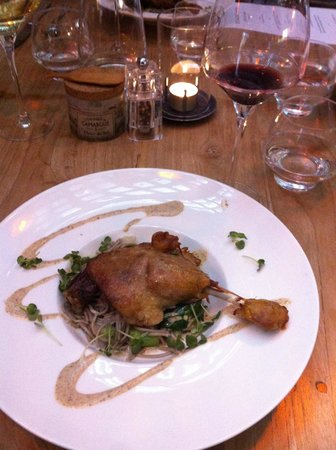 Bickers aan de Werf: Duck leg confit served with oriental style soba noodles and bok choy