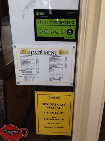 Audrey's Fish & Chips: 5 out of 5 Food Hygiene Rating for Audreys Fish & Chips.