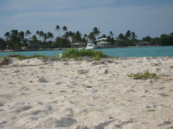 Looking at Little Cayman from Owen Island beach