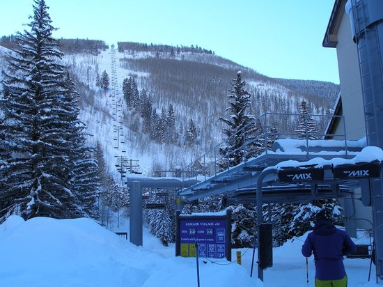 Hotel Talisa, Vail: Ski lift #20 at left and hotel at right
