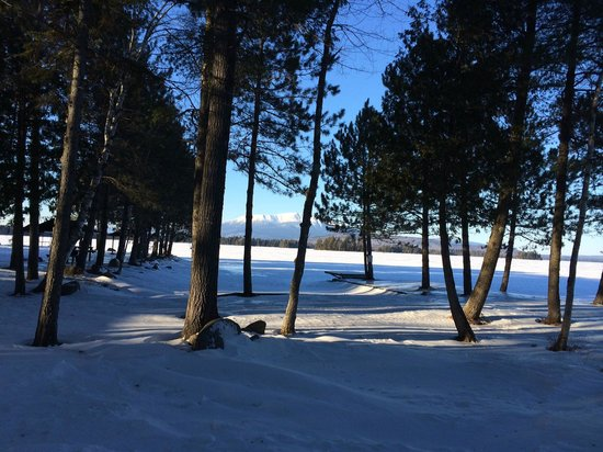 Twin Pine Camps at New England Outdoor Center: View from the cabin door of the lake and Mt. Katahdin