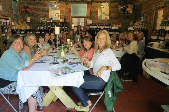 Sedlescombe Organic Vineyard: Hen Party enjoying their 'Wine-bar in the Barn' experience