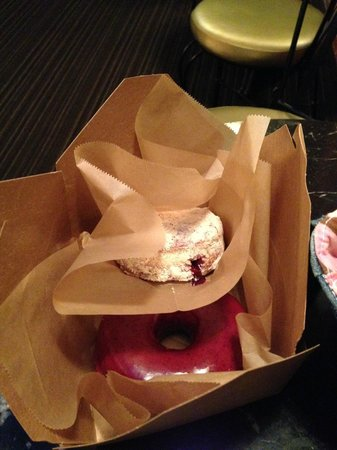 Blue Star Donuts: blueberry bourbon basil and PB&J nestled in a to-go box