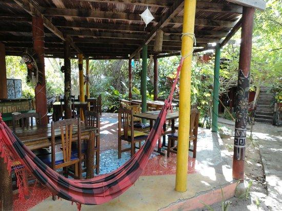 Eco Hostel Lujimba: área comum e do café da manhã