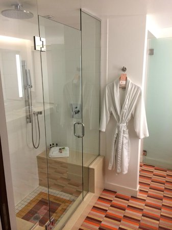 The Hotel of South Beach : bathroom w/ rainfall shower w/ two seats and robe