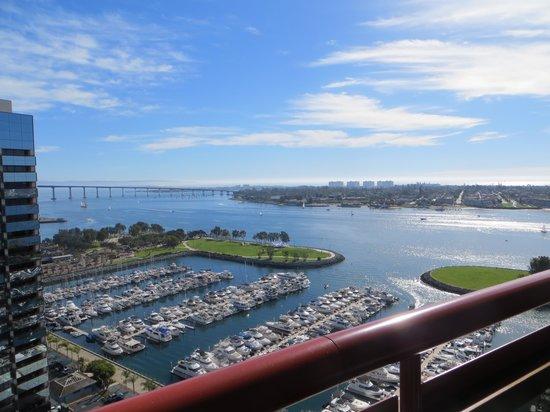 Marriott Marquis San Diego Marina: Vue de la chambre au 23ièce étage tour nord avec balcon