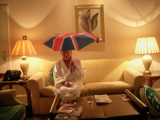 Millennium Hotel London Mayfair: Me showing off my umbrella that was destroyed in a London rain storm
