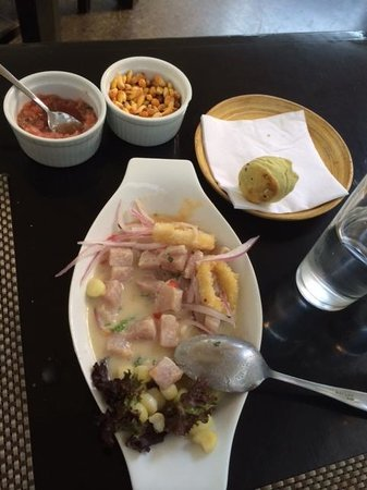 asia lima: Ceviche on the bottom; roasted corn and salsa on the top