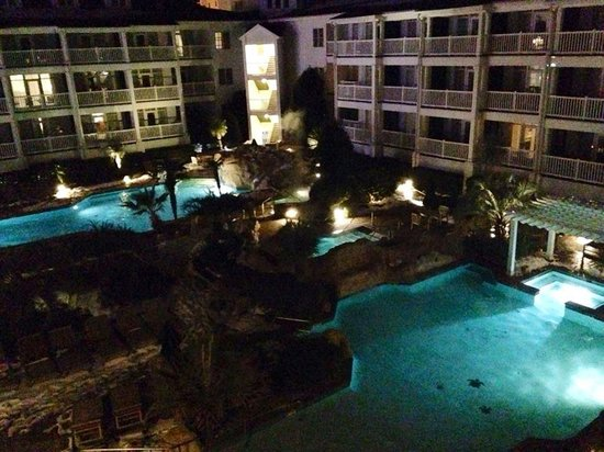 Turtle Cay Resort: View from our room at night.