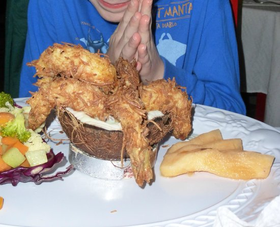 Casa Mission: The biggest coconut shrimp we've ever seen! Delicious too!