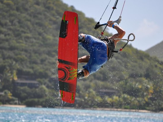 Fusion BVI: Charlie airborne on the kite-board