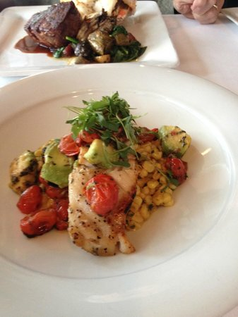 The Fish Market : SeaBass over corn/avocado/tomato relish