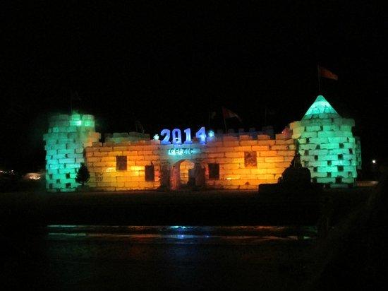 Saranac Lake: Ice Castle at night