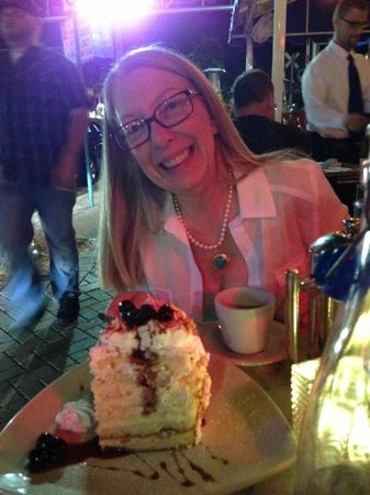 Vic & Angelo's Delray Beach: Isn't this the most amazing cream cake with baked Alaska and dark cherries that you have ever se