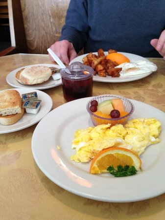 Daily Bread Restaurant: Two-egg breakfasts come with choice of fruit/potatoes, toast/English muffin