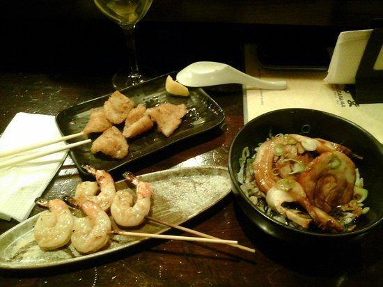 Yakitori Daruma Japanese Sake Bar: Teriyaki Prawns, Deep Fried Squid and Chatsu Don (on rice) all simply prepared and super tasty..