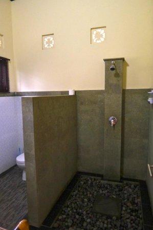 Villa Pelangi Sidemen: salle de bains en pierre volcanique