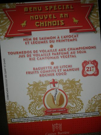 Casino Barriere Ribeauville : Menu Nouvel an chinois