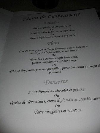 La Brasserie du Resort : Menu de la Brasserie