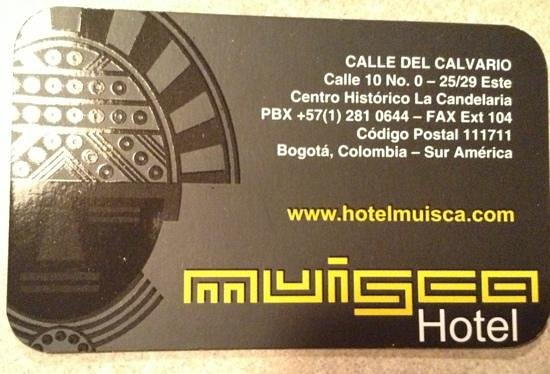 Muisca Hotel: Card front