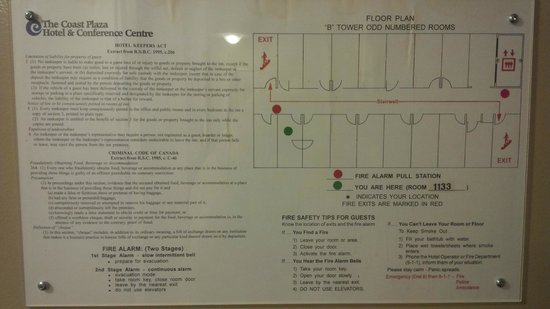 Coast Plaza Hotel & Conference Centre: Hotel fire plan and directions. Hotel staff doesnt even know fire plan.