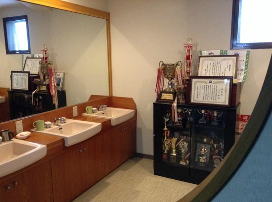 Maruken Sanso: Brush your teeth next to a huge collection of Ski Jump trophies and medals!