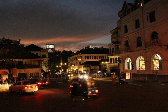Queens Hotel Kandy: The Queen's and the street at night