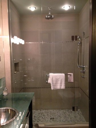 Shaw Club Hotel : Shower/bathroom (mini television built into mirror!)
