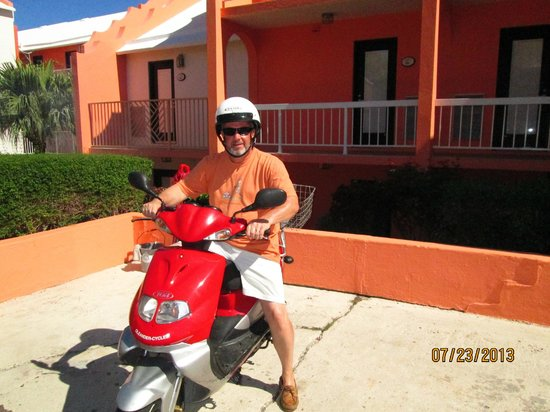 Grotto Bay Beach Resort & Spa: Jim is ready for a day on the open road!