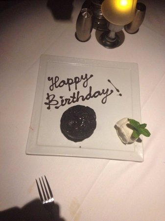 Truluck's Seafood, Steak and Crab House : Delicious dinner capped off with a special birthday dessert