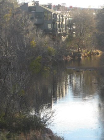 The Inn Above Oak Creek: view of The Inn on Oak Creek from the bridge leading to Tlaqupaque