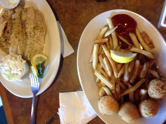 All you can eat fish lunch with fries coleslaw and hush for All you can eat fish
