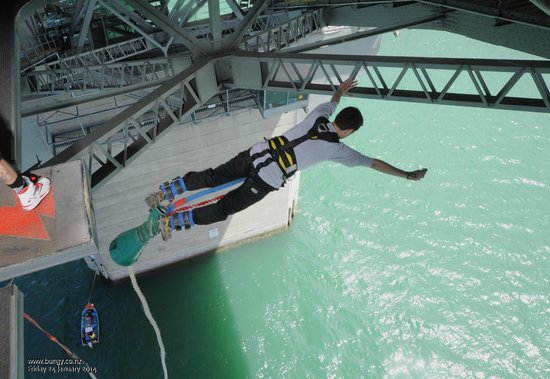 Auckland Bridge Bungy - AJ Hackett Bungy : Swan diving my way down! So much fun!