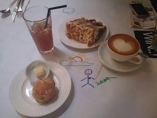 China House: Tiramisu, scones, cappuccino, ice lemon tea and my drawing art ;P