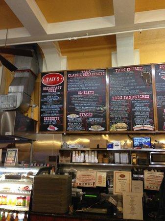 Tad's Steakhouse : Tad's Menu Board