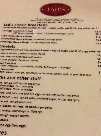 Tad's Steakhouse : Tad's Menu