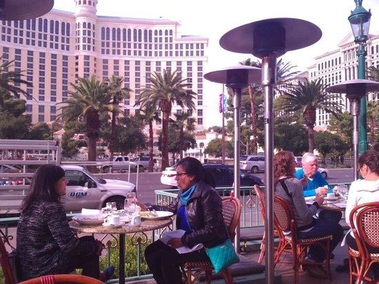 Paris Las Vegas: on the terrace over looking the fountains of the bllagio.