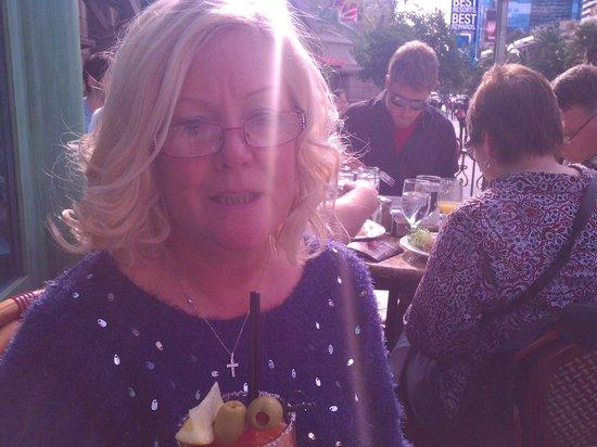 Paris Las Vegas: enjoying a bloody mary before our sea food.