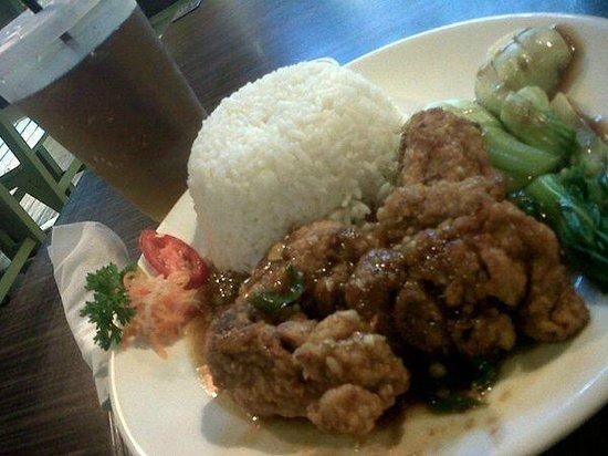 Jun Njan: Rice + Fried Chicken In Butter Sauce + Iced Tea package