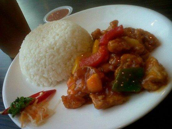 Jun Njan: Rice + Fried Chicken In Sweet & Sour Sauce + Iced Tea package