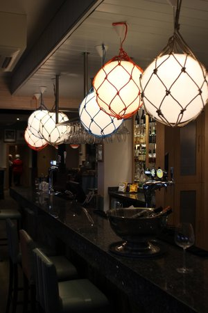 The Waterside Restaurant: lighting above the bar area