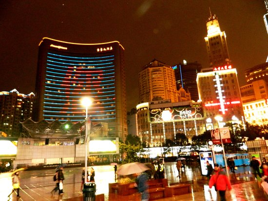 Seventh Heaven Hotel: As seen from Nanjing Lu at night