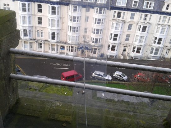 Grand Hotel Scarborough: Cracked window held together with sellotape