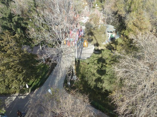 Panfilov Park: Looking down on the park from the top of the Ferris wheel