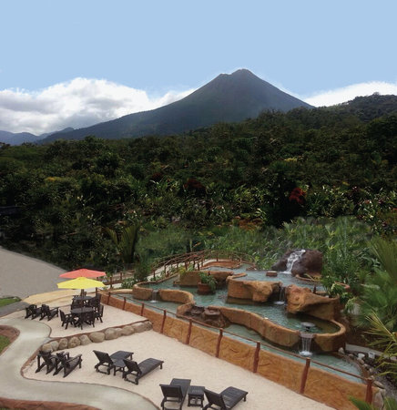 Volcano Lodge & Springs: Our Volcano & Hot Springs View