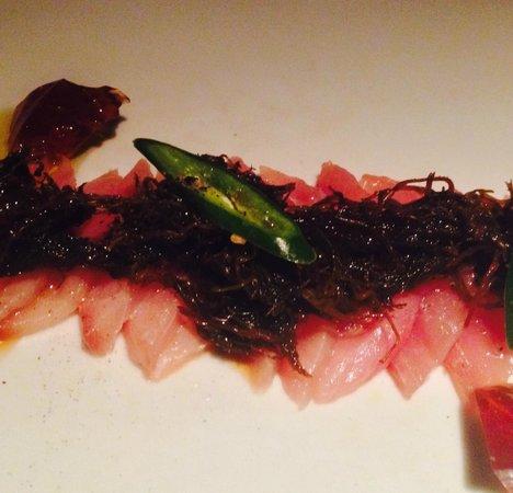 Eat Me Restaurant: Hamachi appitizer with crispy seaweed